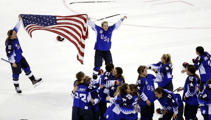 Captain Meghan Duggan # 10 of Danvers helped The United States women's hockey team beat Canada in a shootout to win their first Olympic gold medal since 1998.